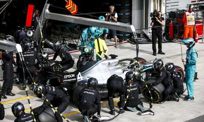 Lewis Hamilton in the pits at Brazilian GP
