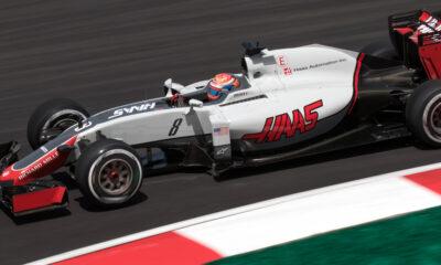 Romain Grosjean on track