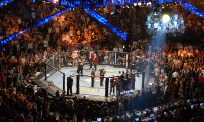 an example of the UFC octagon that Israel Adesanya fights in.